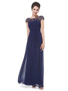 Ever-Pretty Robe de Soirée Longue en Dentelle Femme 52 Bleu Marine