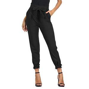 GRACE KARIN Pantalon Femme Casual élastique Ceinture Classique Longue Taille Haute Bow-Knot Noir L CL903-1