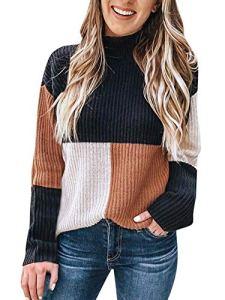 Minetom Pull Femme Automne Hiver Élégant Col Roulé À Manches Longues Chic Chaud Tricot Hauts Tunique Pullover Sweater Couleur D'Épissure Kaki FR 44