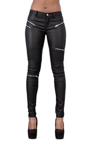 Pantalon Femme Jean Slim Pantalon en Cuir pour Femmes Skinny Motard Look Cuir (38, Noir)