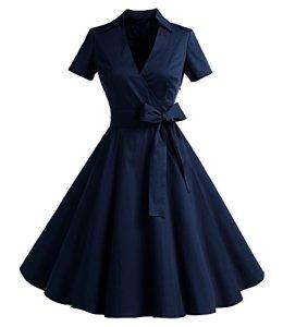 Timormode Robe Années 50's Audrey Hepburn Rockabilly Swing,Plissé Robe à Manches Courtes 10084Navy 2XL