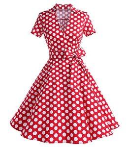 Timormode Robe Années 50's Audrey Hepburn Rockabilly Swing,Plissé Robe à Manches Courtes 10084Red Dots M