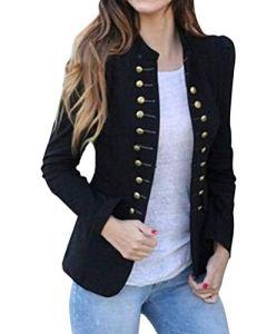 Tomwell Femme Élégant Blazer à Manches Longues Slim Fit Bouton Cardigan Blouson Jacket Vestes de Tailleur Blazer Noir FR 42