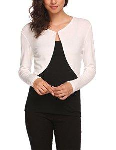 UNibelle Femme Cardigan Court Boléro Pull Gilets Manches Longues Tricot Blanc S