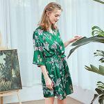 VECOLE Mode Impression Robe de Chambre pour Femme Satin de Soie Kimono pour Femme Costume de Nuit d'hiver Robe de Bain Courte Vêtements de Nuit pour Femme Col en V Pyjama(Vert,M)