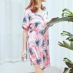 VECOLE Robe de Chambre pour Hiver Femme Satin de Soie Kimono pour Femme Costume de Nuit Automne Robe de Bain Courte Vêtements de Nuit pour Femme Mode Impression (Rose,M)