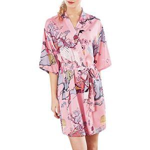 VECOLE Robe de Chambre pour Hiver Femme Satin de Soie Kimono pour Femme Costume de Nuit Automne Robe de Bain Courte Vêtements de Nuit pour Femme Mode Impression (Rose,XXL)