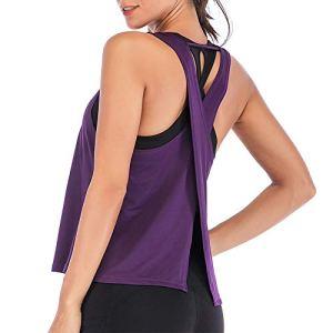 Vertvie Femme Débardeur Yoga Casual Élastique Tank Top Gilet T-Shirt de Sport sans Manches Dos Croisé Ouvert pour Fitness Exercice Yoga Running (FR 40/XL sur l'étiquette, Violet)