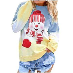 BUKINIE T-Shirt de Noël Bonhomme de Neige pour Femmes Sweat à Manches Longues Colorblock Tie Dye imprimé Pull Tunique Tops(Bleu,Large)