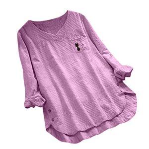 FOTBIMK Chemisier T Shirt Manches Longues Femme Chat Couleur Unie Mini Robe Broderie Chaton Vintage Col V Tunique Femme Long Grande Taille Pas Cher Chemise Rose XXXXXL