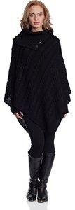 Merry Style Poncho Vêtement d'hiver Femme N4293 (Noir, One Size)