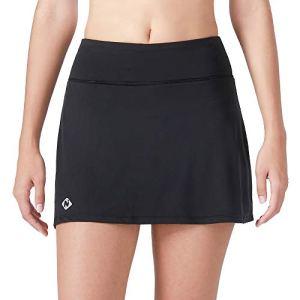 NAVISKIN Femme Légère Active Short De Jupe avec Poches Intérieurs pour Workout Casual Danse Fitness Yoga Jogging Noir Taille XL