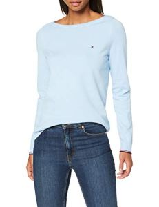 Tommy Hilfiger New Ivy Boat-NK SWTR Ls Sweat-Shirt, Bleu (Cerulean 474), Small Femme