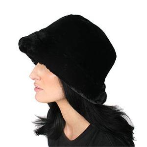 Accessoryo Chapeau Super Doux en Fausse Fourrure Noir