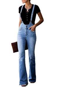 Aleumdr Salopette en Jeans Femme Évasé Pants Pantalon Boutonné Stretch Zippé Denim Elastique Bootcut Casual Vintage