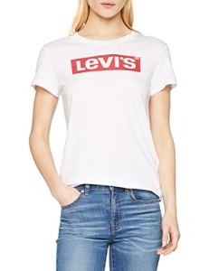 Levi's The Perfect Tee T-Shirt Femme – Blanc (Batwing White Graphic 53) – X-Small