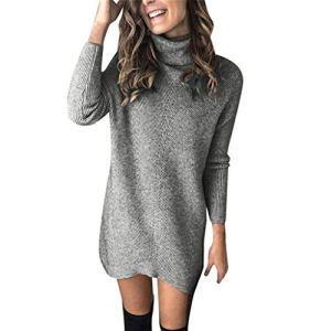 Pulls Chic Femme Robe Courte Elegant Manches Longues Lâche Automne Hiver Soirée Mini Dress Col Roulé Sweat-Shirt Pullover Efanhouy