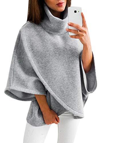 YOINS Femme Cape Poncho Hiver Manches Chauve Souris Manteaux Blouson Overcoat Col Montant Outwear Ourlet irrégulier, Gris, M