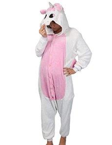 Adulte Kigurumi Unisexe Anime Animal Costume Cosplay Combinaison Pyjama ou Déguisement – Licorne rose Taille L