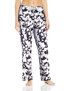 Amazon Essentials Pantalon de nuit en popeline pour femme, Bleu marine Floral, US M (EU M – L)