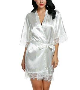 Avidlove Peignoir Nuisette Kimono Japonais Déshabillé Vetement(Blanc,M)