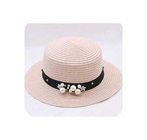 baixa Summer Sun Hats Chapeau de Paille pour Femme avec Fleurs et Perles – Rose – 56/58 cm