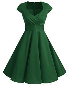 Bbonlinedress Robe Femme de Cocktail Vintage Rockabilly Robe plissée au Genou sans Manches col carré Rétro, Vert, M