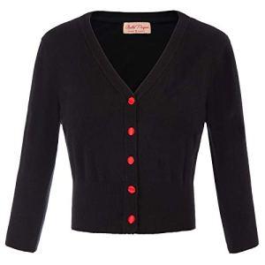 Bolero Tricot Noir 3/4 Manches Fermeture à Bouton pour Robe Blouse S BP928-1