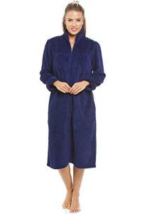 Camille Womens Zip Housecoats 42/44 Navy