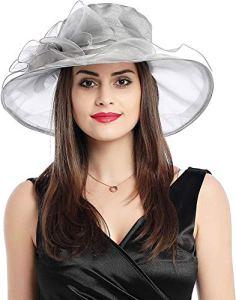 Chapeau de Soleil pour Femme en Organza à Large Bord en Gaze Kentucky Derby pour église, Kentucky Derby, Mariage, fête, Plage, Voyage