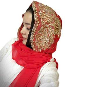 Chapeau Hijab musulman pour femme, mode femme, décoration de perles Islam musulman Ramadan Hijab Wrap Châle Accessoire – Rouge