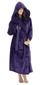 CityComfort Peignoir Femme Polaire Peignoirs de Bain Robe de Chambre avec Capuche (XL, Violet Foncé)
