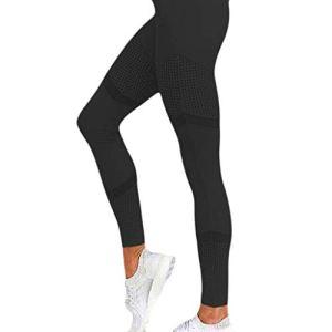 COGOTO Femmes Entraînement Yoga Skinny Pantalon Taille Élastique Couleur Unie Leggings Taille Haute Coeur Mesh Cuir Leggins – Noir – XL