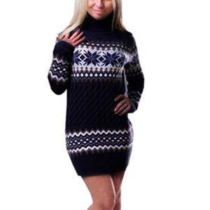 COTTONI-Dresses Robe à col roulé à col roulé avec imprimé Flocon de Neige – Bleu Marine – Taille M