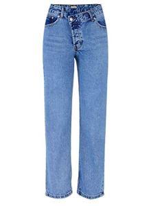 DENGZHOUSHIYA Femmes Couleur Taille Haute Denim Pantalon Lâche Droite Trompette Niveau De Ceinture Irrégulière Shaper Coton Brut Sexy Basse, Fibre synthétique, Bleu, 40