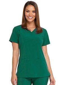 Dickies EDS Essentials Women's V-Neck Solid Scrub Top Xx-Small Hunter Green