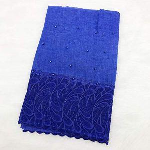 DJLHN Nouveau Foulard Femme en Coton et Lin Style National tie-Dye écharpe indonésienne en Plumes et Perles – Bleu Royal