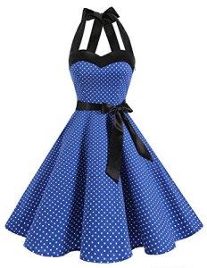 DRESSTELLS, Version3.0 Vintage 1950's Audrey Hepburn pin-up Robe de soirée Cocktail, Style Halter années 50 à Pois, Bleu Saphir S