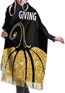 Écharpe d'hiver pour femme avec inscription Happy Thanksgiving Day Gold en laine de citrouille grande taille Ponchos Pashmina Châles et enveloppements