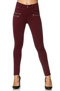 Elara Pantalon Femme Stretch Skinny Fit Jegging Chunkyrayan H86-5 Wine 38 (M)