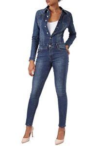 Ensemble Jeans pour Femme Combinaison Skinny Fit Pantalon, Couleurs:Bleu, Taille:36 / S