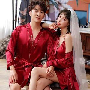Eroticddmm Peignoirs Femme Pyjamas Couple de Femmes en Soie Pyjamas Pyjamas de Soie Hommes à Manches Longues Peignoirs de Soie de Glace Service à Domicile VA Femelle M vin Rouge