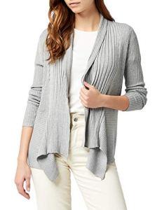 Esprit 994EE1I903 – Gilet – Uni – Manches longues – Femme – Gris (Light Granit Mélange) , FR: XXXL (Taille fabricant: DE XXL)