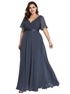 Ever-Pretty Robe de Soirée Longue Femme Double Col V Manche Courte Grande Taille Bleu Denim 56
