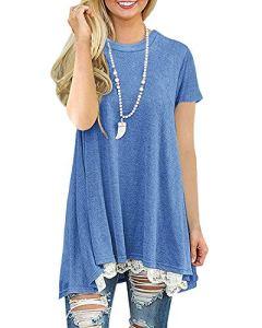 Femme Tunique Été Manches Courte Grande Taille Casual Coton Fluide Top Haut Blouse Tee Shirt [Bleu XXL]