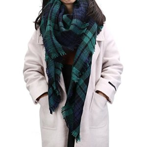 FENTI Echarpe Surdimensionné XXL pour Femme Foulard Tartan Epais Cache-col Châle Ecossais à Franges 140cm*140cm Vert