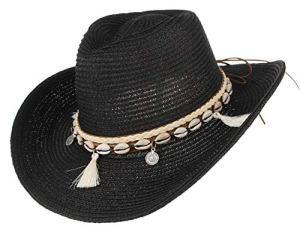 GEMVIE Chapeau Western – Chapeau de Cowboy Femme – Chapeau de Paille été Anti-UV Plage (Noir)