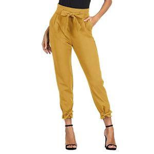 GRACE KARIN Femme Pantalon avec Poches Ceinture élastique Taille Haute Pants Casual Carotte Cigarette Crayon Bow Knot Jaune XL CL903-6