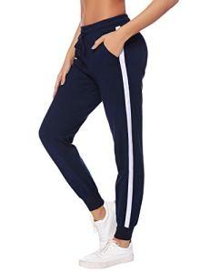 Hawiton Pantalon de Sport Femme 100% Coton Stripe Pantalon décontracté Pantalon de Jogging Pantalon d'entraînement Fitness Taille Haute Long Coton, D- Bleu, XL