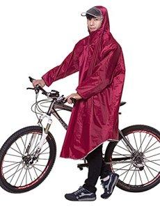 Icegrey Adulte Léger PVC Long Taille Capuche Pour Imperméable Faire du Vélo Pluie Cape de Poncho à Manches Vin Rouge